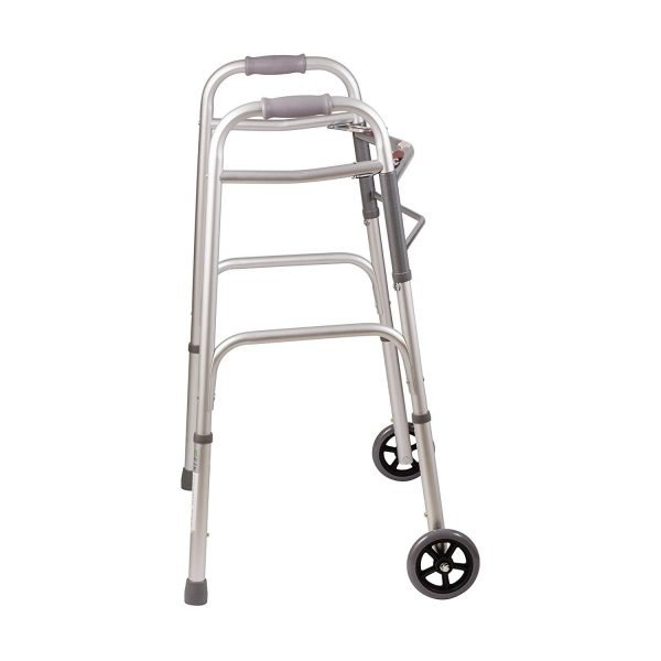 Essential Trigger Release Walker with 5 Inch Fixed Wheel